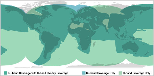 Ku Band and C Band Coverage Overlay